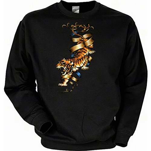 Motorrad-Driver Sweatshirt, Motiv: Tiger Gr XXL (Fb schwarz)