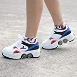 Deform Wheel Skates Roller Shoes Casual Deformation Sneakers Walk Skates Hommes Femmes Runaway Skates à Quatre Roues,EU36