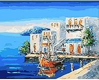 番号によるDiyペイント子供と高齢者のためのデジタル大人の油絵初心者のためのデジタル絵画デジタル絵画、キャンバス上の家の装飾抽象的な建築海辺