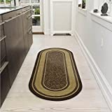 Ottomanson Home Collection Bordered Ottohome Rug, 2' x 5' Oval, Chocolate Brown, 7 Sq Ft
