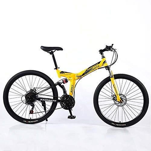 F-JWZS Unisex Dual Suspension Mountainbike, 24 inch vouwfiets, 21/24/27 snelheid met schijfrem - voor student, kind en volwassene