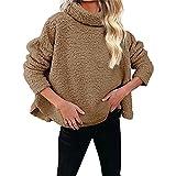 ZFQQ Abrigo Superior Suelto de Lana de Color sólido para Mujer de otoño / Invierno