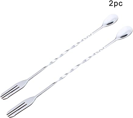 Exmart Stainless Steel Mixing Spoons Cocktail Stirring Spoons Bar Tools-2 Pcs
