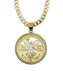 14kt Gold Filled Centenario Pendant With Curb Necklace Oro Laminado Brasileno