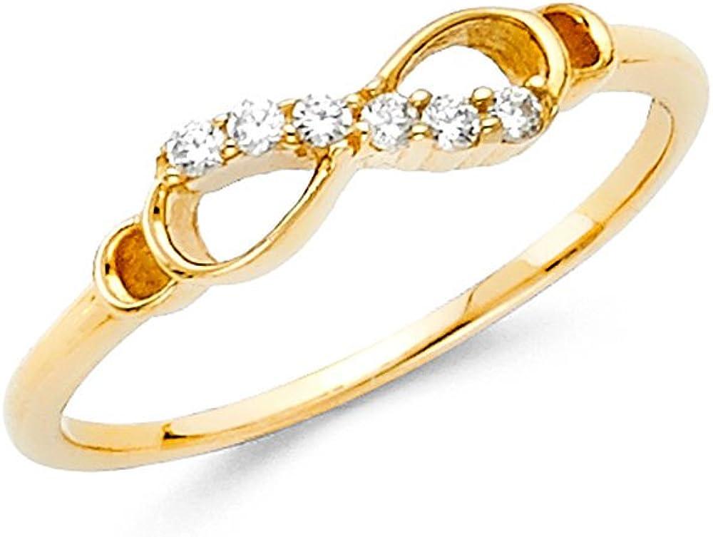 Sonia Jewels 14k Yellow Gold Cubic Zirconia CZ Infinity Fashion Anniversary Ring
