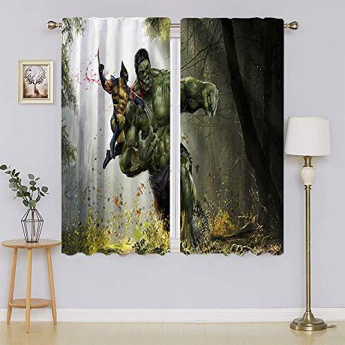 Wolverine vs. Hulk Comics Blackout Curtains Light Reducing Room Darkening Energy Efficient Curtain Panel Drapes for Bedroom W42 x L54