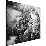 Revolio 80x60 cm Leinwandbild Wandbilder Wohnzimmer Modern Kunstdruck Design Wanddekoration Deko Bild auf Leinwand Bilder 1 Teilig - Natur Tier Wolf Wald schwarz-weiß