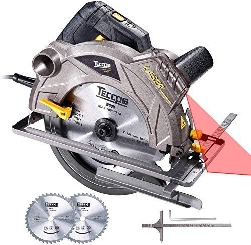 Scie Circulaire, TECCPO Professional 1500W Scie Circulaire avec Laser, 5800 RPM, 2 Lames Ø 185mm (40T&24T), Profondeur de Coupe 63mm...