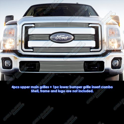 APS Compatible with 2011-2016 Ford F-250 F350 F450 F550 SD XLT Lariat King Ranch Aluminum Chrome Horizontal Billet Grille Insert Combo F61038A
