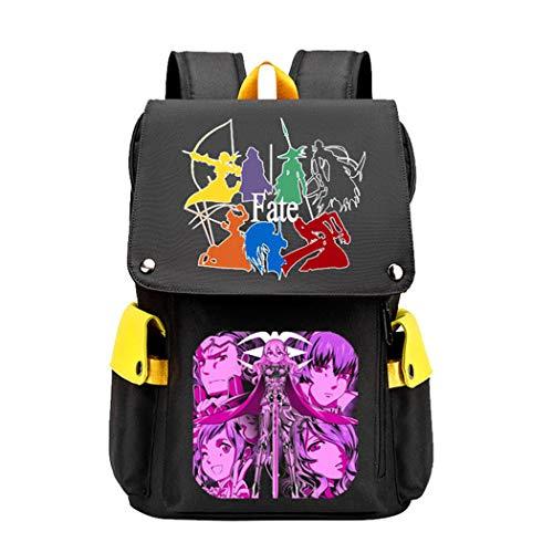 WANHONGYUE Fate Zero/Stay Night/Grand Order Anime Cosplay Backpack Rucksack Bolsa de Escuela Mochilas Escolar Mochila para Portátil 15.6 Pulgadas Amarillo / 2