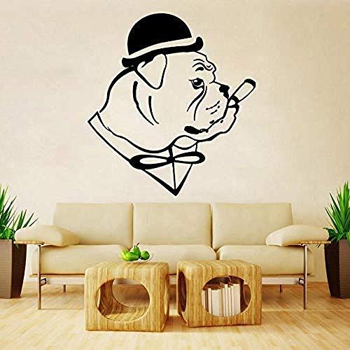 Wandaufkleber Fun English Bulldog Dog In Hut Gentleman Cigar Wall Sticker Decal Decor PVC 45x50cm