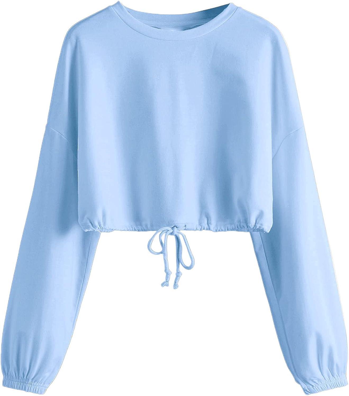 Verdusa Women's Casual Drawstring Hem Long Sleeve Pullover Crop Top Sweatshirt
