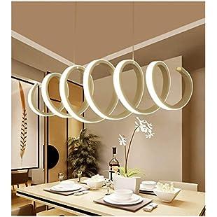 Vampsky Nordic Modern Simple 88W LED Ceiling Pendant Light Postmodern Restaurant Kitchen Acrylic Aluminum Suspension Light Pendant Lamp for Living Room Bedroom White Light:Maxmartyn