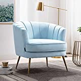 Altrobene Velvet Accent Chair Modern Channel Tufted Armchair Comfy Barrel Chair with Gold Legs for Living Room, Bedroom, Office, Light Blue