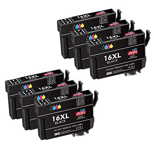 JIMIGO 16 XL Alta Capacidad Cartuchos de Tinta para Epson 16 16XL, 6 Negro Compatible con Epson WorkForce WF-2510 WF-2520 WF-2530 WF-2540 WF-2630 WF-2650 WF-2660 WF-2750 WF-2760 WF-2010