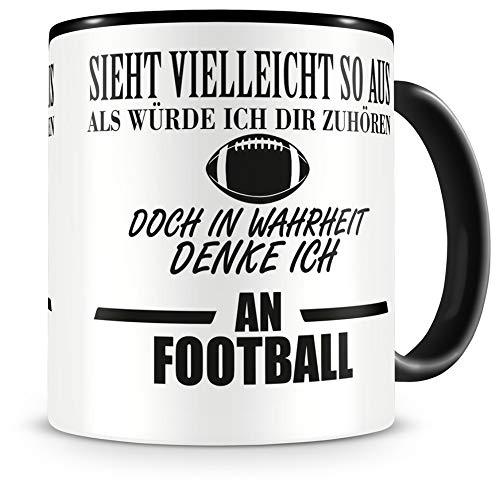 Samunshi® Ich denke an Football Tasse Kaffeetasse Teetasse Kaffeepott Kaffeebecher Becher H:95mm/D:82mm schwarz