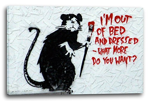 Leinwand (80x60cm): Banksy - Ratte mit Pinsel