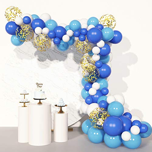 Soonlyn Blue Confetti Balloons 100Pcs Matte Party Latex Balloon Arch Garland