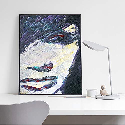 yhyxll Acuarela Abstracta Cara de la niña Imágenes del hogar Decoración Imagen Sin Marco Chica Moderna Arte Pop Impresiones de la Lona y Carteles para la Sala de Estar 2 40x60cm