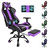 Purple Gaming Chair with Massage Racing Chair...