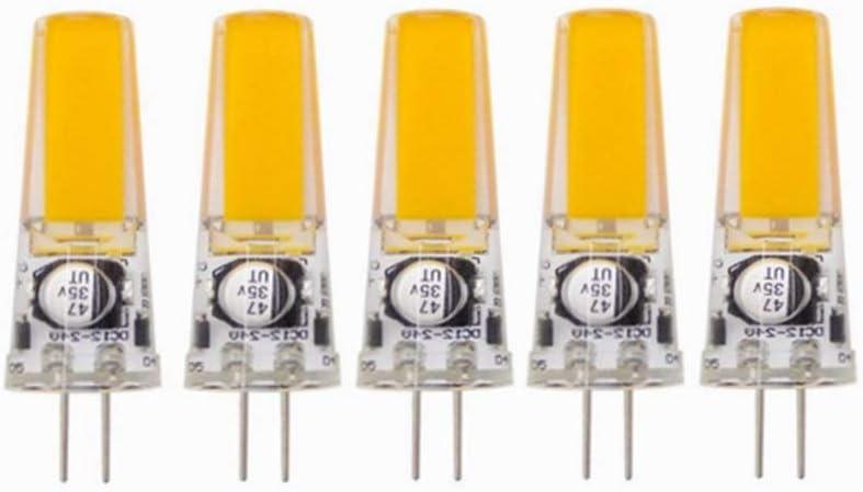 Luz de maíz Bombillas LED GY6.35 No Regulables, Base Bi-pin GY6.35 / G6.35, AC / DC 12-24 Volt, 3Watt Equivalente a T4 JC Tipo 25W Reemplazo de Bombilla Halógena Incandescente 5-Pack Bulbos DIRIGIÓ