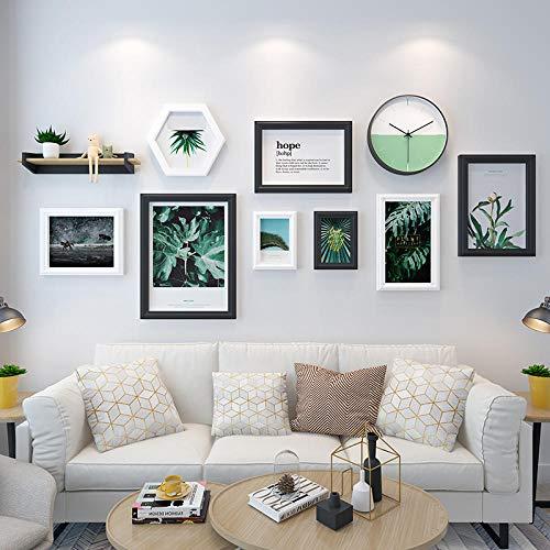 Kuingbhn Conjunto de Marcos de Fotos Recuerdo Golpe Gratis Mejores decoraciones de Pared Marcos de Fotos Planta Blanco y Negro