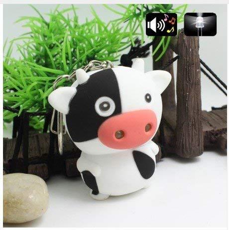 Familienkalender Kuh Kalb Schlüsselanhänger Figur mit LED und Sound (MUH) Stier | Weide | Bulle | Kind | Geschenk