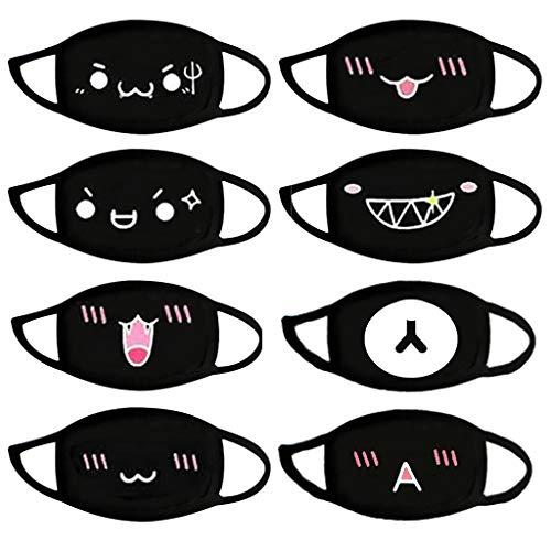 Anime cartoon mundschutz Baumwolle Anti-Staub Mode Kawaii süße mundschutz wiederverwendbare schwarz mit motiv (A)