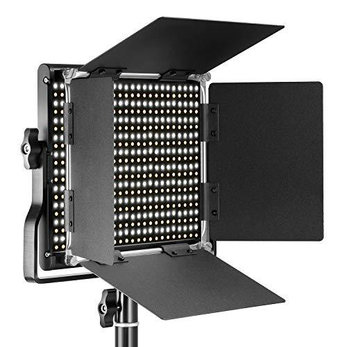 Neewer Professional Metal Bi-color LED Video Luz Regulable para Estudio YouTube Retrato Producto Fotografía Vídeo Shooting con Macro...