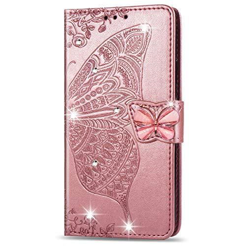 Custodia Portafoglio per Samsung Galaxy A20e Glitter Bling Brillantini 3D Flip Cover in Pelle aLibro Case per Donna Ragazza Uomo - Farfalla in Oro Rosa