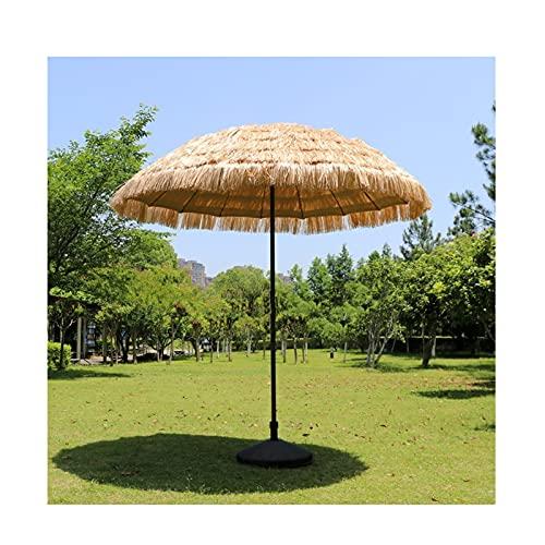 LJIANW Parasol Terraza Sombrilla 2,5 M Paja De Imitación Compacto Sombrilla para Pequeña Exterior Espacios De Patio Toldo De Playa (Color : Beige, Size : 2.5m)