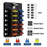 TurnRaise Caja de Fusibles 12 Vías Portafusibles con Lámpara de Alerta LED Kit para Coche Barco (fusibles incluidos y terminales de conexión)