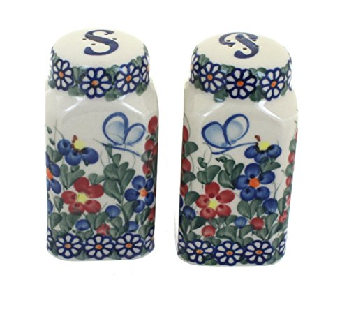 Blue Rose Polish Pottery Garden Butterfly Large Salt & Pepper Shakers