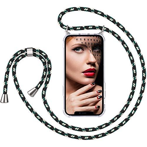 RUSFOL Handykette Handyhülle Kompatibel mit iPhone 12 /iPhone 12 Pro 6.1'', Smartphone Necklace Transparent Hülle mit Band, Silikon Durchsichtige Handyhülle mit Kordel zum Umhängen in Camouflage Grün