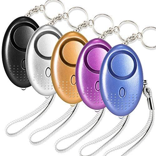Alarma Personal de Seguridad 5PCS 140DB Emergencia Alarma Seguridad Autodefensa Ataque Protección con Luz LED Llaveros para Mujeres Niños Ancianos Nocturno la Seguridad