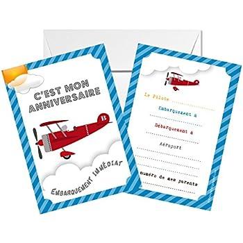 Lot De 5 Cartes D Invitation Anniversaire Theme Avion Amazon Fr Fournitures De Bureau