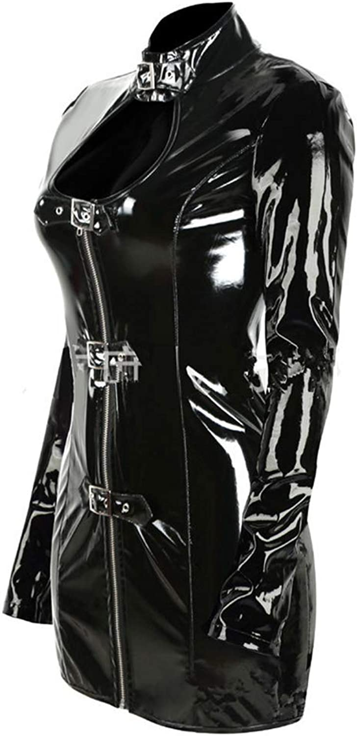 Patent Leather Faux Leather Zipper Tight Dress Nightclub Ds Clothing Game Uniform