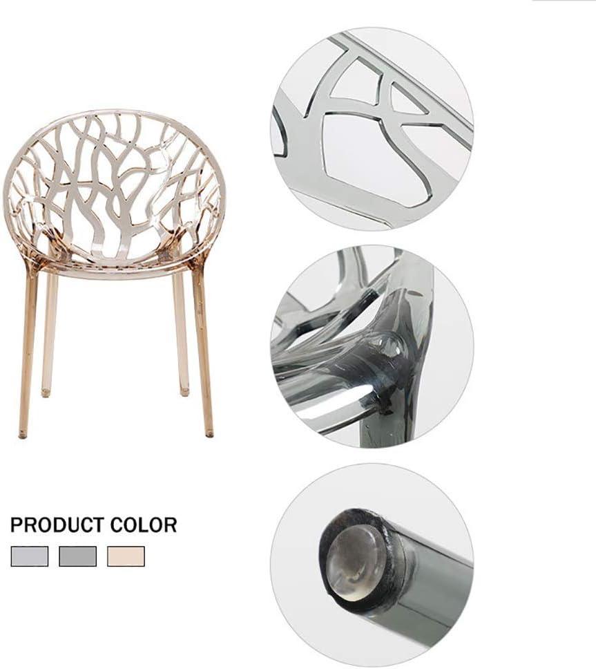 ASDUN Dossier Chaise Transparente Accueil Salle à Manger Chaise Acrylique Cristal Plastique Chaise De Loisirs 61 × 57.5 × 89cm Light Gray