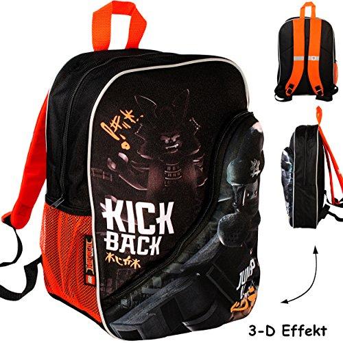 alles-meine.de GmbH 3-D Effekt _ Kinder Rucksack -  L E G O - Ninjago / Ninja  - Tasche - wasserfest & beschichtet - Kinderrucksack / groß Kind - Jungen - Schulrucksack - z.B. ..