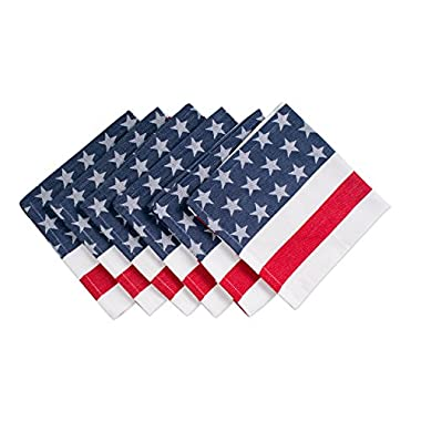 DII 100% Cotton, Machine Washable, Oversized Basic Everyday 20x20  Napkin Set of 6, Stars & Stripes
