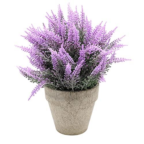 Garneck Künstliche Lavendel Pflanze Künstliche Lavendel Topf Kunststoff Lavendel Vereinbarungen in Töpfe Gefälschte Mini Topfpflanzen für Home Garten (Lila)