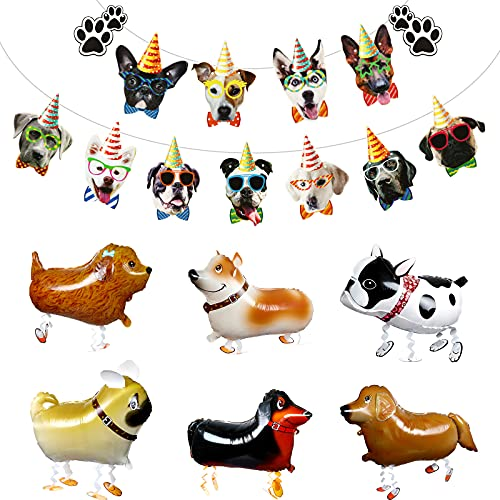 8 Pieces Walking Animal Balloons Dog Face Banner Set Pet Dog Balloons Puppy Balloon Walking Dog Foil Balloons for Dog Puppy Birthday Party Animal Themed Party Favors
