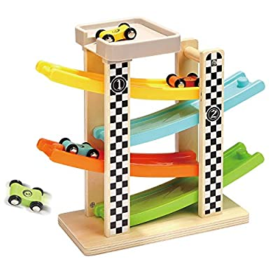 TOP BRIGHT Toddler Toys For 1 2 Year Old Boy And Girl Gifts Wooden Race Track Car Ramp Racer With 4 Mini Cars