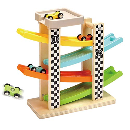 TOP BRIGHT Toddler Toys for 1 2 Year Old Boy and Girl Gifts Wooden Race Track Car Ramp Racer with 4 Mini Car