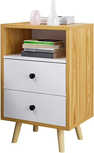 Lagerregal ZHIRONG 2 Schubladen Nachttisch, Holz Beistelltisch Nachttisch, Multifunktions Sofa Beistelltisch (Farbe   Holzfarbe)