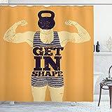 ABAKUHAUS Jahrgang Duschvorhang, Bodybuilding Sport, Hochwertig mit 12 Haken Set Leicht zu pflegen Farbfest Wasser Bakterie Resistent, 175 x 200 cm, Orange