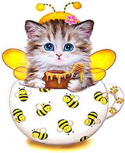 New 5D Diamond Painting Kits for Adults Kids, Awesocrafts Cup Kitten Bee Partial Drill DIY Diamond Art Embroidery Paint by Numbers with Diamonds (Bee)