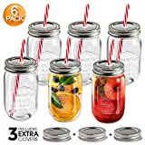 MASTERTOP,6 Pcs Transparent Glass Mason Jars for Preserves, 500ml Mason Drinking Jars, Kitchen...