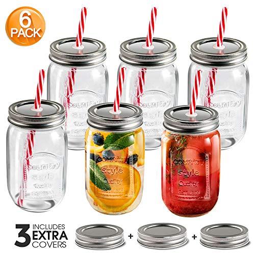 MASTERTOP Juego de 6 Vasos de Vidrio con Tapas y Pajitas 500ML Mason Jars Tarros de Cristal Botellas de Vidrio 100% Recicladas 3 Tapas de Cierre sin Poros Adicionales Cocina