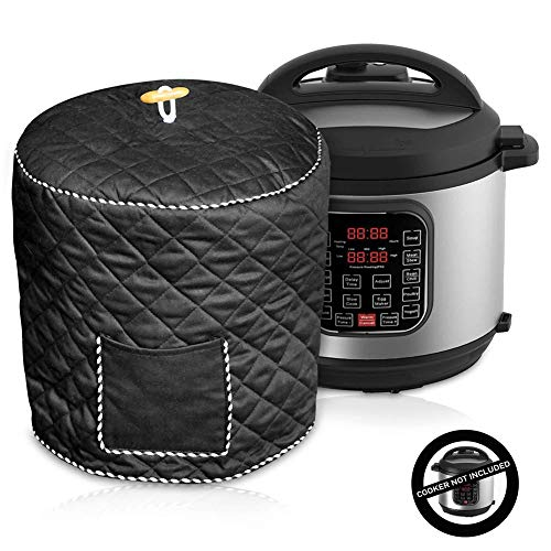 Decorative Cover for Electric Pressure Cookers Has Pocket, Anti Static Dust Cover with Interior Lining & Side Pocket - Fits 6QT Instant Pot 8QD Pressure Cooker(8Qt,Black)